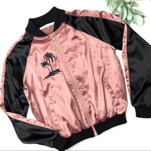 LOVERS + FRIENDS   sz S Pink palm bomber jacket